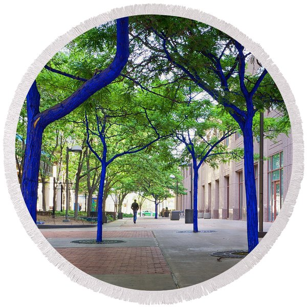 Round Beach Towel featuring the photograph Blue Tree Walkway by Mary Lee Dereske
