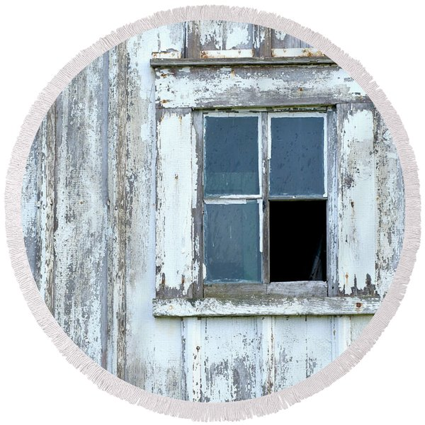 Blue Window In Weathered Wall Round Beach Towel