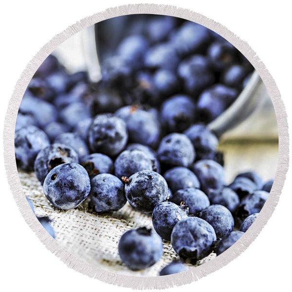 Blueberries Round Beach Towel