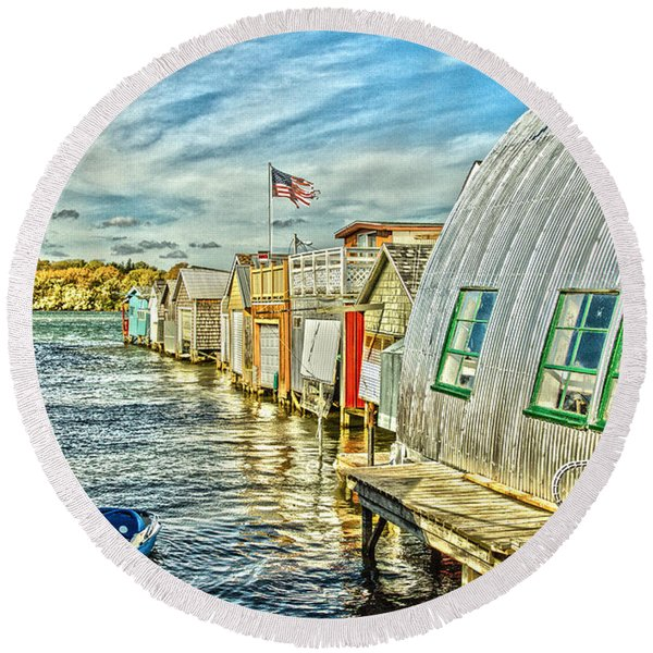Boathouse Alley Round Beach Towel