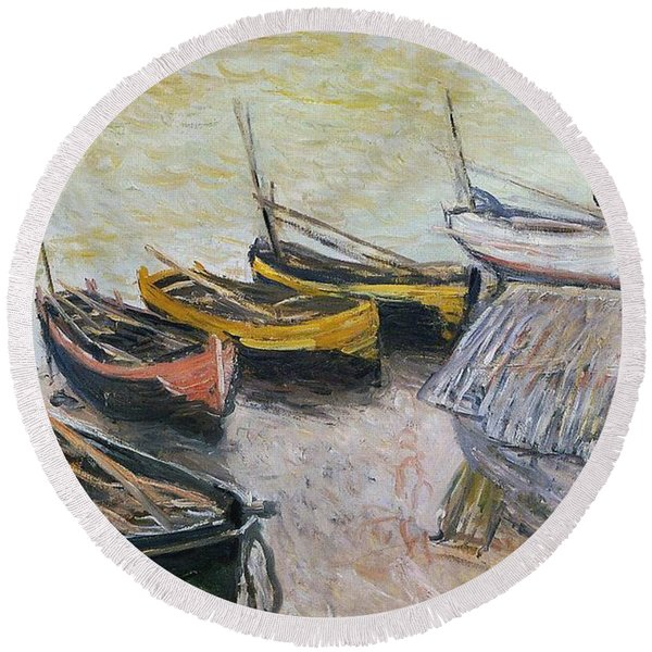 Boats On The Beach Round Beach Towel