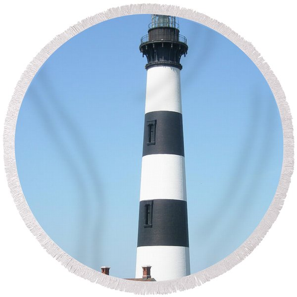 Bodie Lighthouse - Outer Banks Nc Round Beach Towel