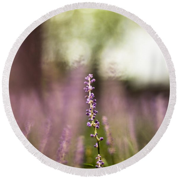 Bokeh With Purple Wildflower Round Beach Towel
