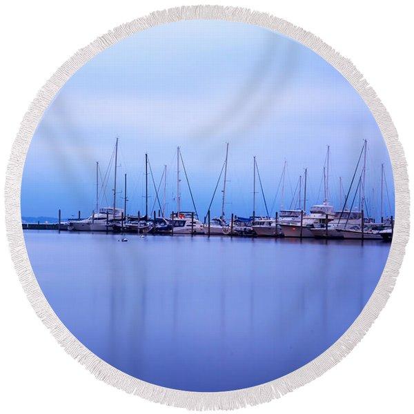 Brewer Yacht Yard At Cowesett Rhode Island Round Beach Towel
