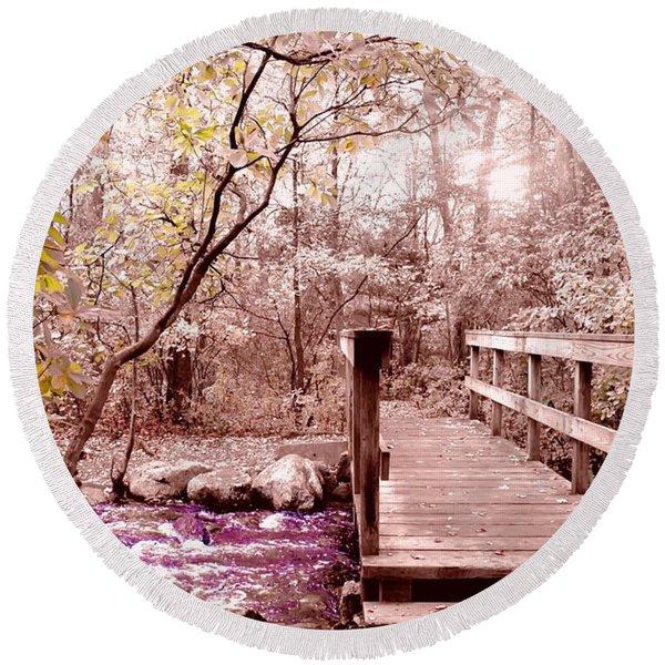 Bridge To Utopia  Round Beach Towel