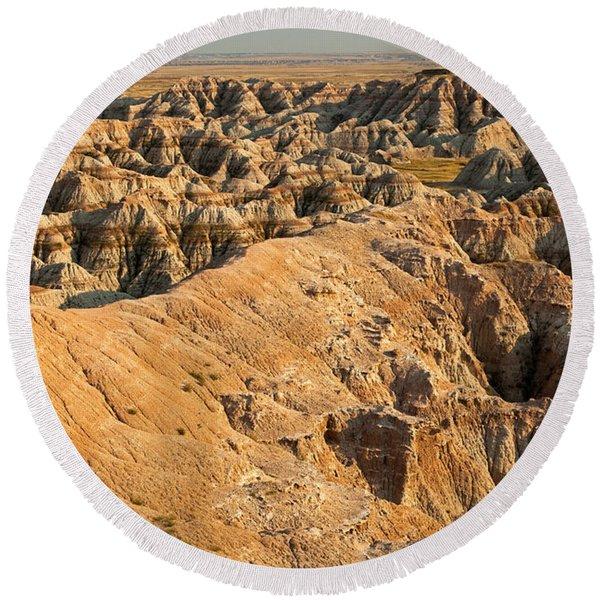 Burns Basin Overlook Badlands National Park Round Beach Towel