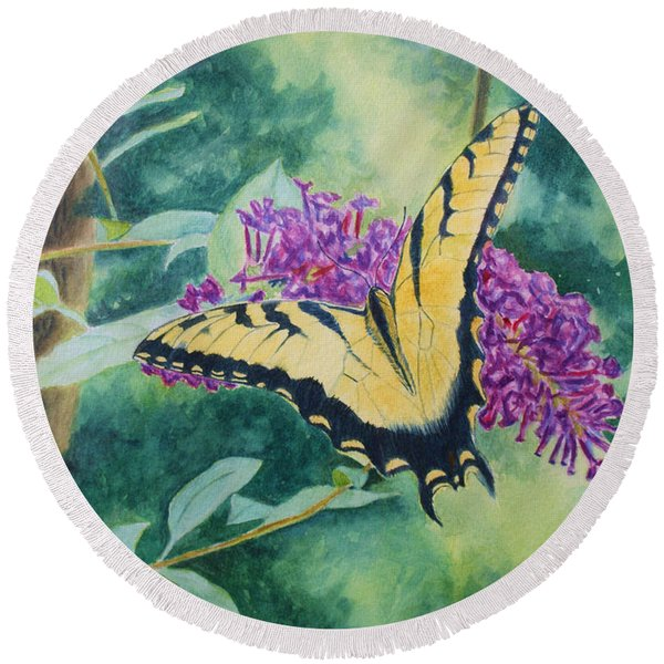 Butterfly Bush Round Beach Towel