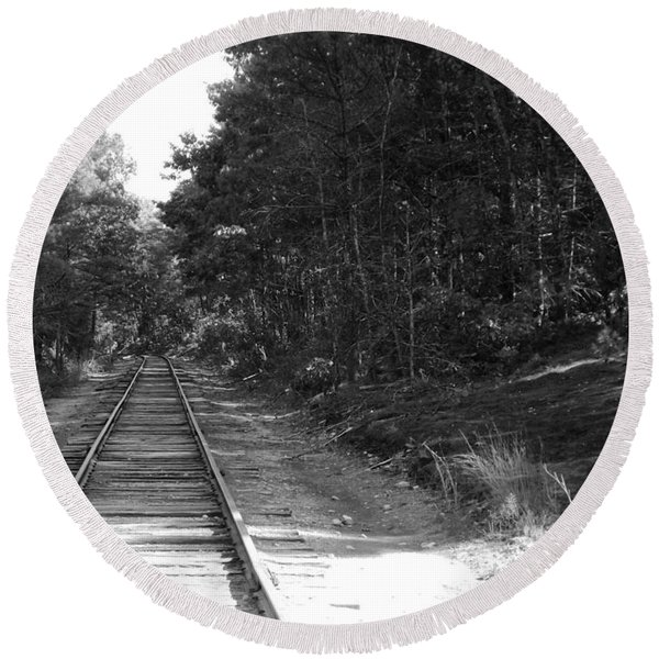 Bw Railroad Track To Somewhere Round Beach Towel