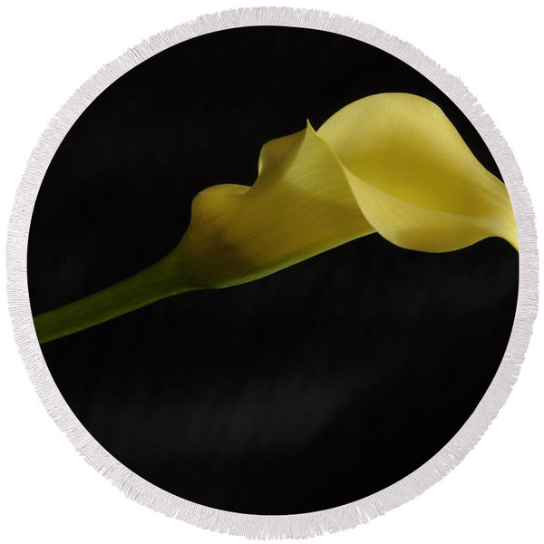 Calla Lily Yellow II Round Beach Towel