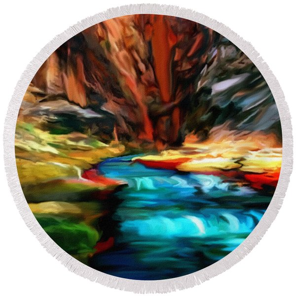 Canyon Waterfall Impressions Round Beach Towel