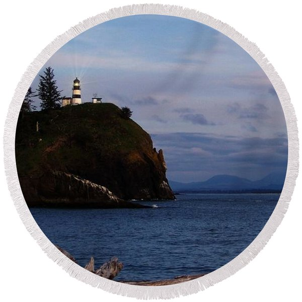 Cape Disappointment Light Round Beach Towel