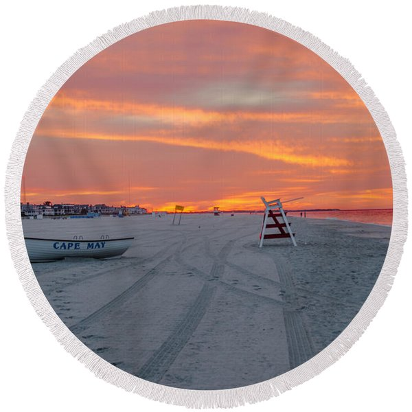 Round Beach Towel featuring the photograph Cape May Seascape by Bill Cannon