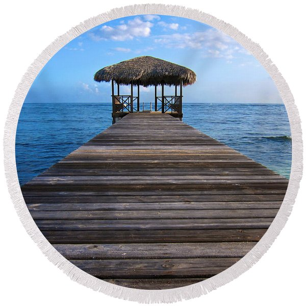Round Beach Towel featuring the photograph Caribbean Dock by Mary Lee Dereske