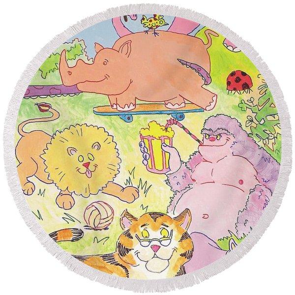 Cartoon Animals Round Beach Towel