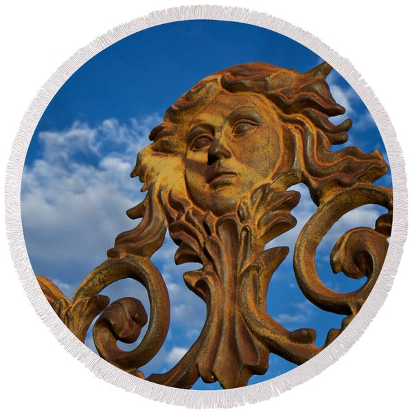 Round Beach Towel featuring the photograph Cast Iron Maiden Of The Sky by Mary Lee Dereske