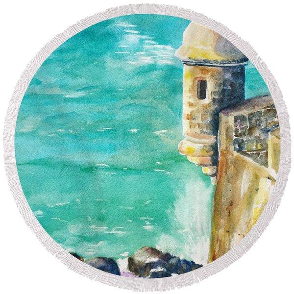 Castillo De San Cristobal Ocean Sentry  Round Beach Towel
