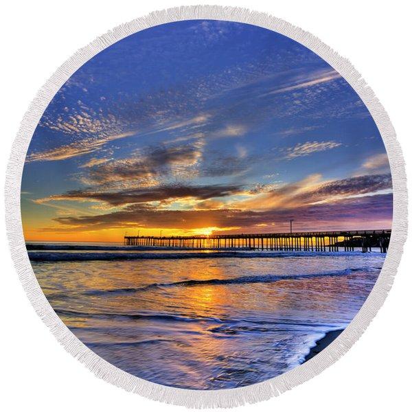 Cayucos Sunset Round Beach Towel