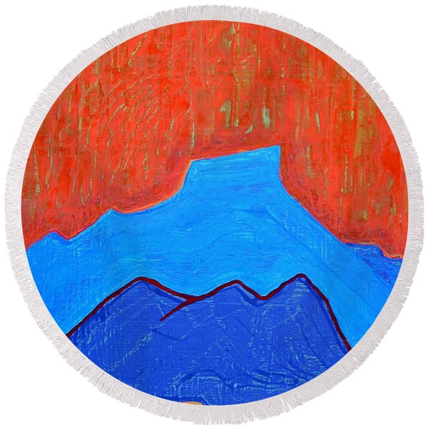 Cerro Pedernal Original Painting Sold Round Beach Towel