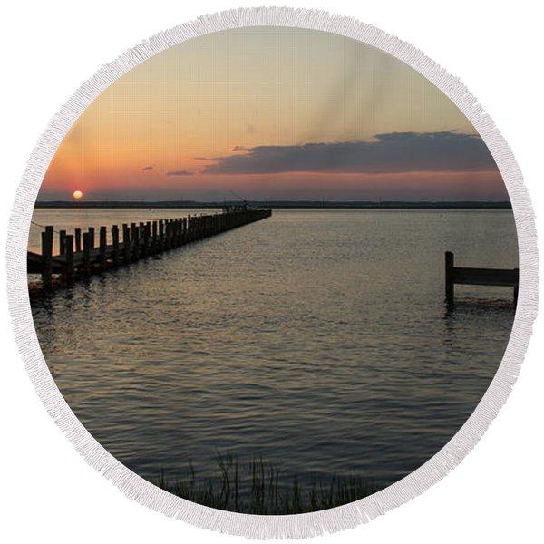 Chincoteague Island Sunset Round Beach Towel