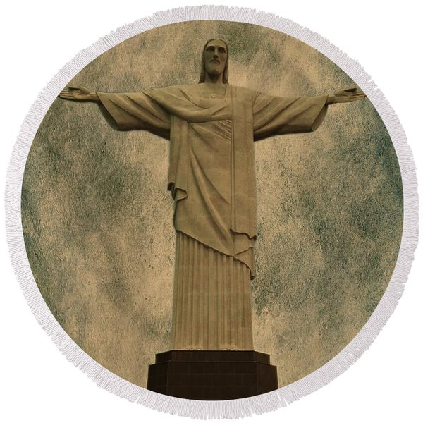 Christ The Redeemer Brazil Round Beach Towel