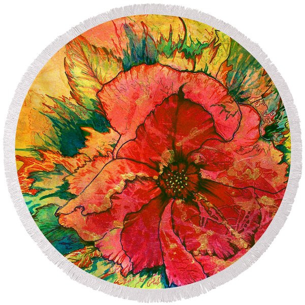 Round Beach Towel featuring the painting Christmas Flower by Nancy Cupp