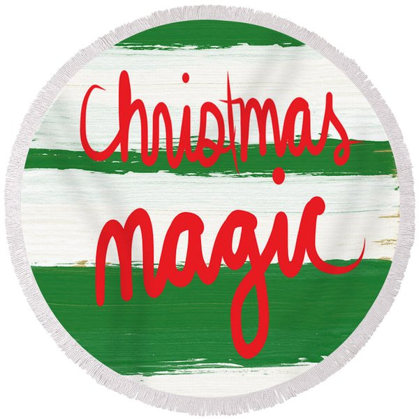 Christmas Magic - Greeting Card Round Beach Towel