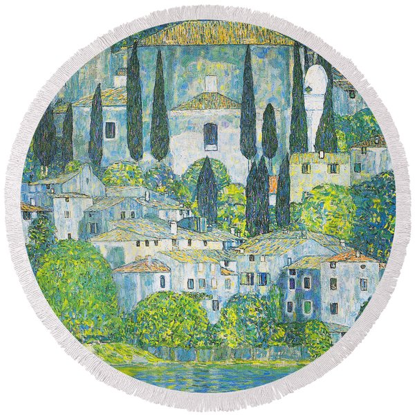 Chruch In Cassone Round Beach Towel