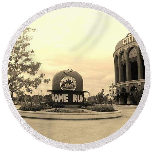 Citi Field In Sepia Round Beach Towel