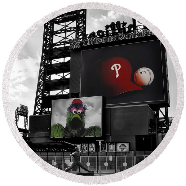 Round Beach Towel featuring the photograph Citizens Bank Park Philadelphia by Bill Cannon