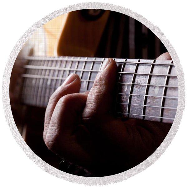 Close Up Shot Of A Man Playing Guitar Round Beach Towel