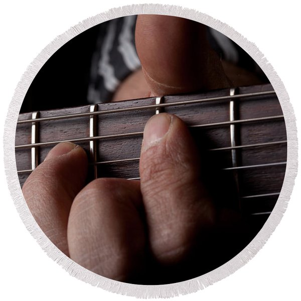 Close Up Shot Of A Mans Left Hand Playing Guitar Round Beach Towel