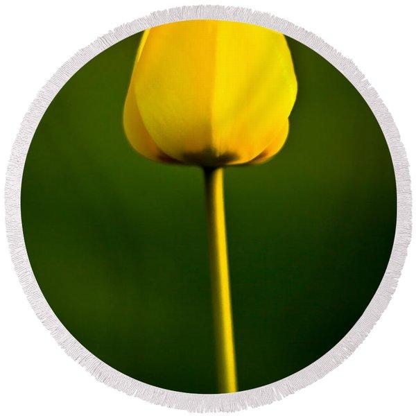 Closed Yellow Flower Round Beach Towel