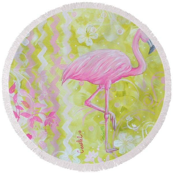Coastal Decorative Pink Green Floral Chevron Pattern Art Flamingo Dance By Madart Round Beach Towel