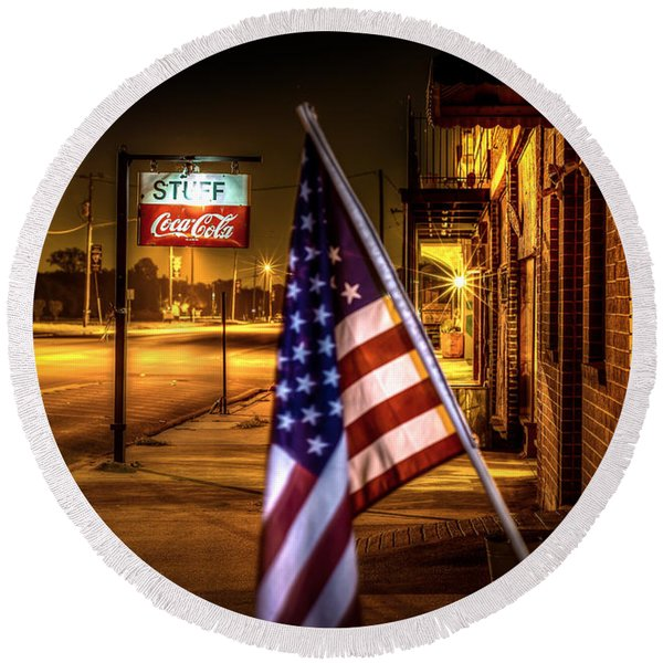 Coca-cola And America Round Beach Towel