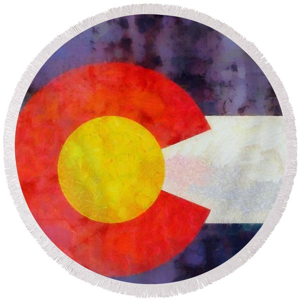 Colorado State Flag Weathered And Worn Round Beach Towel