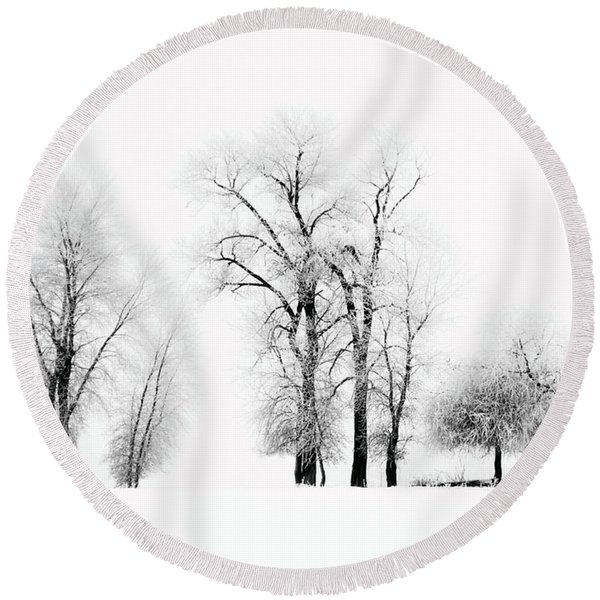 Frosted Trees 2 Round Beach Towel