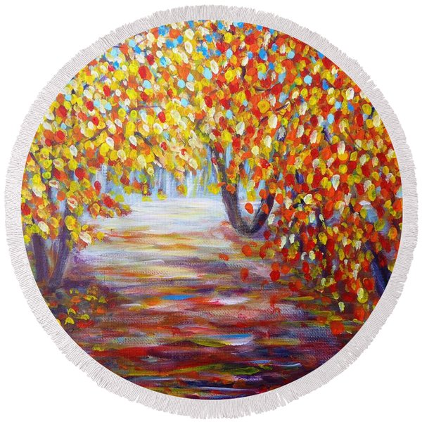 Colorful Autumn Round Beach Towel