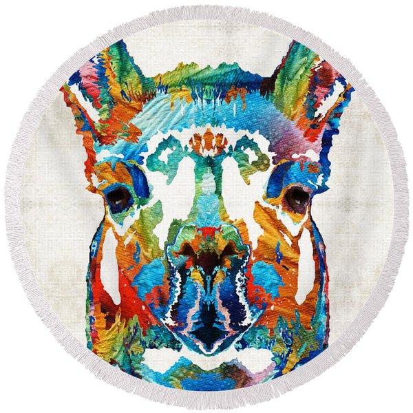 Colorful Llama Art - The Prince - By Sharon Cummings Round Beach Towel