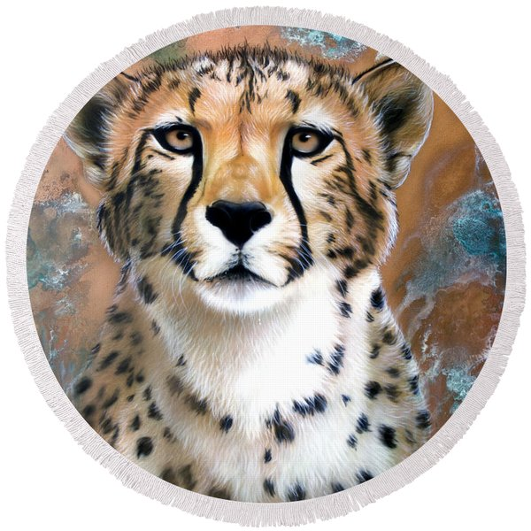 Copper Flash - Cheetah Round Beach Towel