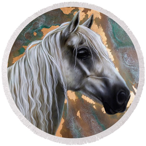 Copper Horse Round Beach Towel