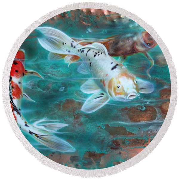 Copper Koi Round Beach Towel