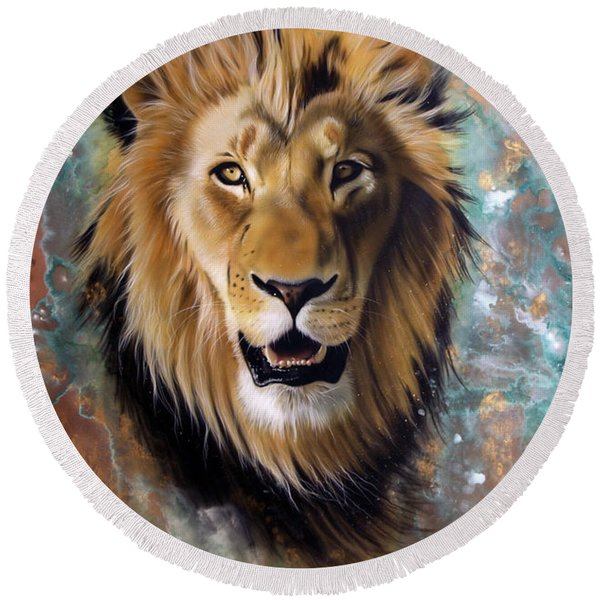 Copper Majesty - Lion Round Beach Towel