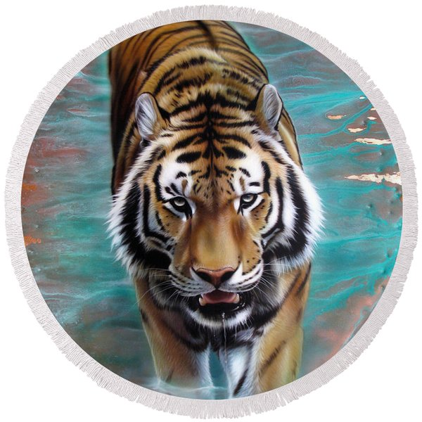 Copper Tiger 3 Round Beach Towel