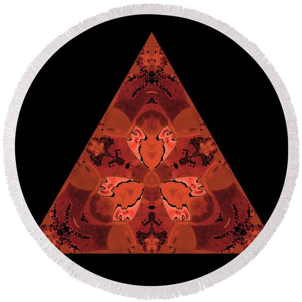 Copper Triangle Abstract Round Beach Towel