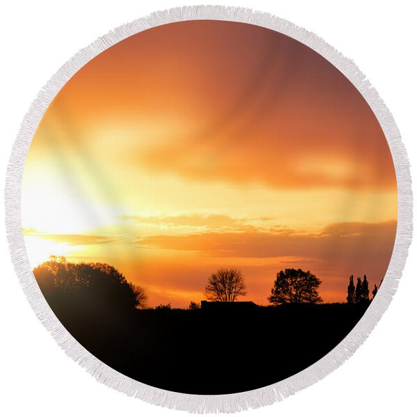 Country Sunset Silhouette Round Beach Towel