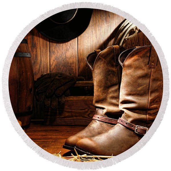 Cowboy Boots In A Ranch Barn Round Beach Towel