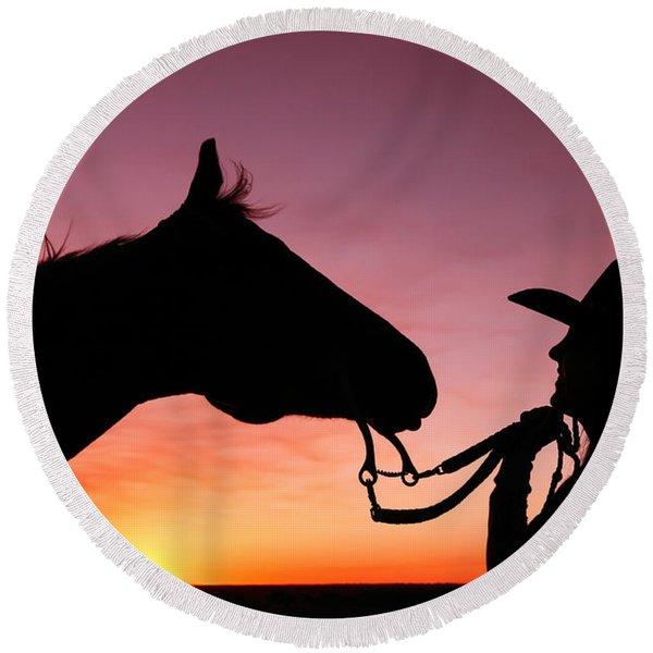 Cowgirl Sunset Round Beach Towel