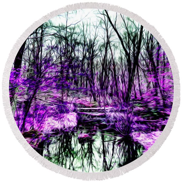 Creek By Purple Round Beach Towel