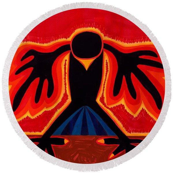 Crow Rising Original Painting Round Beach Towel