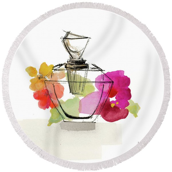 Crystal Watercolor Perfume II Round Beach Towel